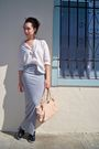 White-unknown-blouse-silver-diy-skirt-beige-anthropologie-purse-black-miu-