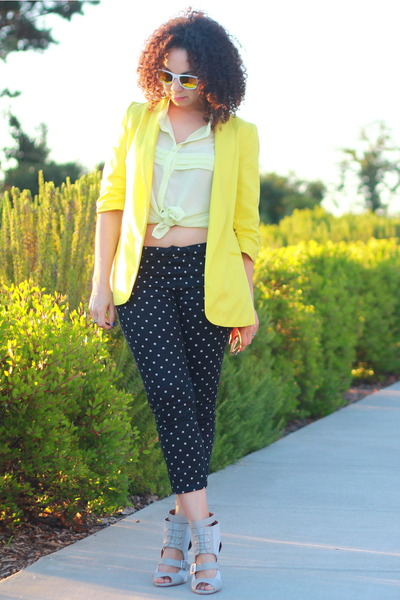 black Uniqlo pants - yellow Bar III blazer - white Forever 21 sunglasses