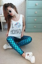 teal mermaid Ebay leggings - white retro Primark sunglasses