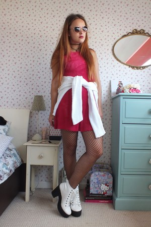 hot pink tie dye charity shop dress - white platform River Island boots