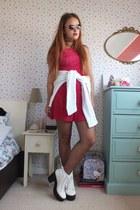 hot pink tie dye charity shop dress - white platform River Island boots