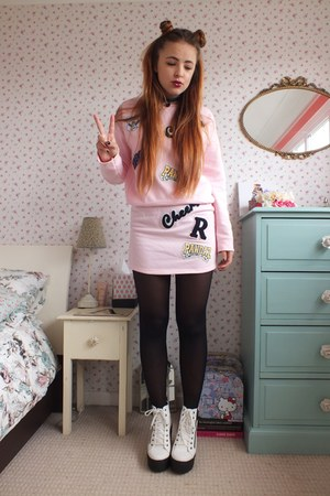 bubble gum sporty Primark skirt - white platform River Island boots