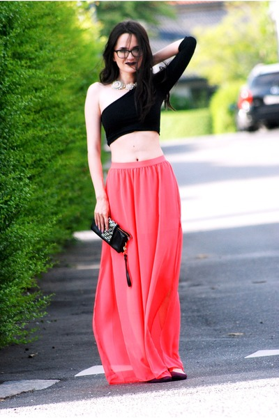 hot pink H&M skirt - maroon H&M flats - top - necklace