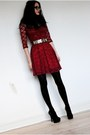 Ruby-red-lace-asos-dress-black-romwe-belt