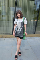black EMODA shorts - green DKNY bag - blackjewel staccato sandals