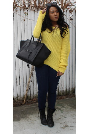 yellow Ralph Lauren sweater - navy abercrombie and fitch jeans
