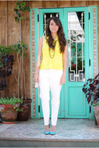 neon BCBG heels - Parfois bag - neon yellow blouse - white Zara pants