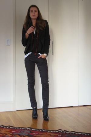 gray stretch Uniqlo jeans - black c doux boots - black cropped H&M blazer