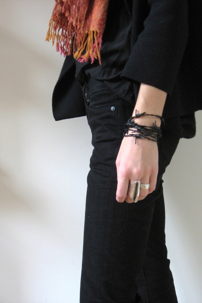 handmade bracelet - Club Monaco pants - forever 21 blouse - Jcrew sweater - scar