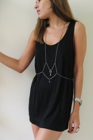 silver body armor ampersand accessories - black H&M dress
