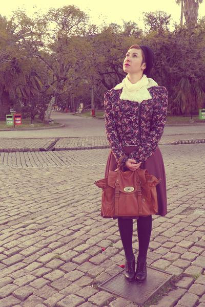 bag - hat - jacket - tights - heels - skirt