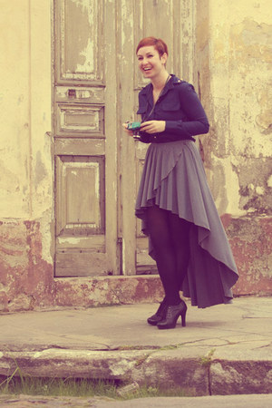 skirt - boots - tights - blouse