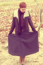 skirt - boots - scarf