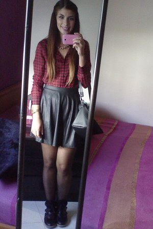 Primark bag - Stradivarius skirt - Local store sneakers - Stradivarius blouse