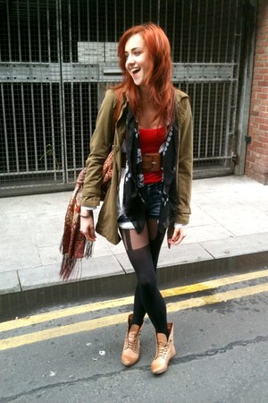 brown leather barrats boots - green Pimkie coat - Primark tights - skull Primark