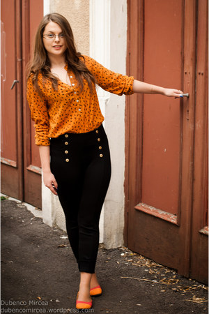 black Zara pants - gold casual chic Atmosphere blouse - orange flats