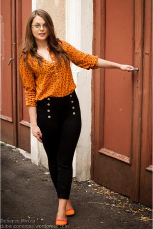 black Zara pants - gold casual chic Atmosphere blouse - orange flats