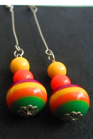 orange earrings - chartreuse earrings - yellow earrings