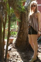 army green thrifted shorts - light brown Topshop top - floral bandeau American E