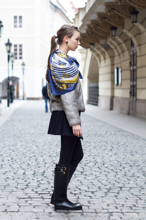 Burberry boots - IRO coat - Hermes scarf - Topshop skirt