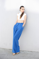 off white Jimmy Choo heels - white asos shirt - sky blue Fees de Bengale pants