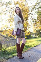 Chanel bag - D&G boots - Sheinside sweater - Zara shorts - Chanel earrings