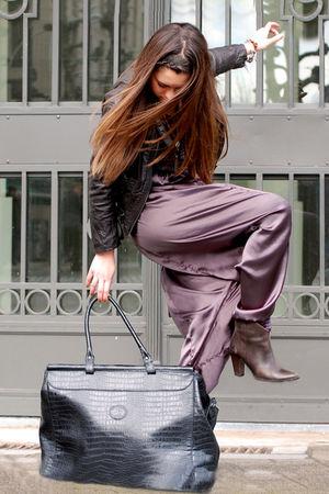 brown leather H&M jacket - brown Luna Exit boots - black La Redoute shirt