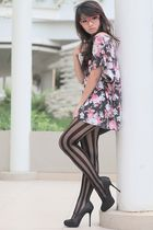 pink flowers cotton on top - black pumps new look shoes