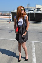 DKNY bag - mirror asos sunglasses - All Shoes pumps - breton Zara t-shirt