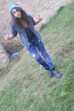 blue hat - black boots - navy jeans jacket - Galaxy leggings