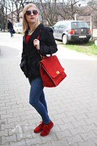 red leather shoes - red leather bag - metallic hm sunglasses - red blouse