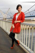 carrot orange Zara coat - white Stradivarius blouse - tawny Stradivarius heels