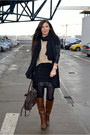 Dark-brown-stradivarius-boots-black-zara-blazer-dark-brown-guess-bag