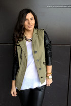 army green Bershka jacket - black Bershka pants - white Zara blouse
