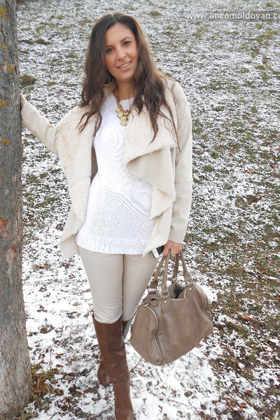 brown pieces bag - dark brown Stradivarius boots - tan Bershka coat