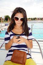 brown I dont remeber bag - yellow LJR shorts - white H&M sunglasses