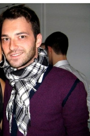 purple Marc Jacobs sweater - white H&amp;M scarf
