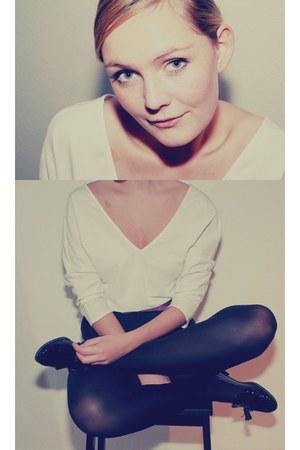 white Zara blouse - black Zara loafers