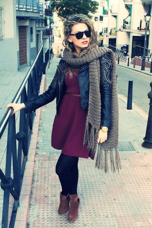 crimson Bershka dress - brown H&M boots - black Zara jacket - tan Pimkie scarf