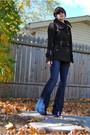 Brown-mackage-coat-white-shirt-blue-j-brand-jeans