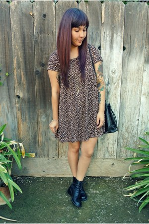 thrifted boots - American Apparel dress