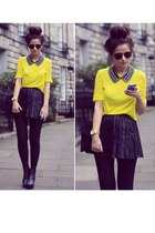 yellow shirt - black tights - black bag - black skirt - gold watch