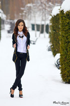 black sweater - white shirt - black necklace - black pants - black heels