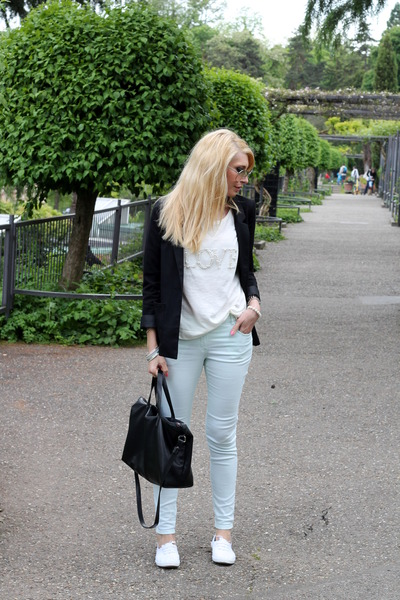 black H&M blazer - black Zara bag - mint H&M pants - white Vero Moda blouse