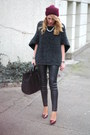 Burgundy-zara-hat-grey-zara-sweater-black-mango-bag-burgundy-zara-pumps
