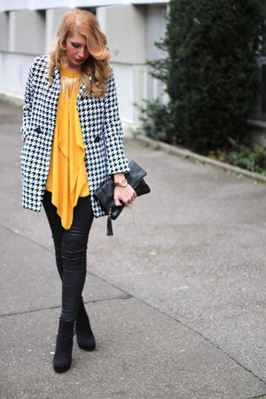 mustard H&M blouse - black studded H&M boots - houndstooth Rosewholesale coat