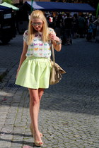 white Zara blouse - beige Mango shoes - beige Mango bag - neon yellow Zara skirt