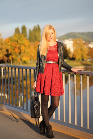 black Zara boots - burgundy lace dress - black biker New Yorker jacket