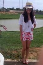 white Lucky Brand shirt - hot pink Marimekko shorts
