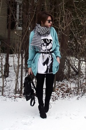 turquoise blue Forever 21 sweater - white H&M shirt - black random brand shoes -